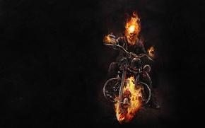 Картинка Призрачный гонщик, ghost rider, скелет, огонь, байк