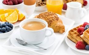 Обои круассан, голубика, сок, кофе, вафли, ягоды, малина, апельсин, завтрак, яйцо
