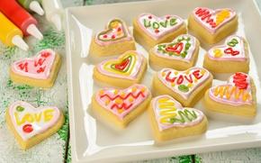 Обои надписи, узоры, печенье, цветная, десерт, сладкое, блюдо, глазурь