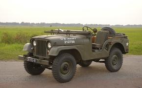 """Обои внедорожник, Jeep, трава, автомобиль, проходимости, повышенной, армейский, """"Виллис М38A1"""", Willys M38A1, 1955"""
