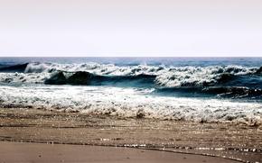 Картинка берег, пена, брызги, море, волны, вода, weaves, пляж, sea, splashes, beaches, water, лето, ocean, небо, ...
