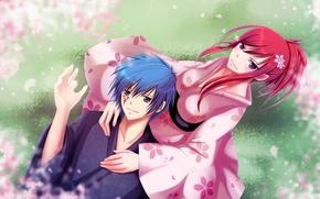 Картинка девушка, природа, аниме, лепестки, сакура, парень, кимоно, Fairy Tail, Jellal Fernandes, Сказка о хвосте феи, …