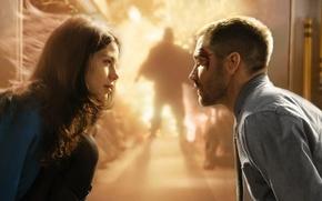 Картинка взрыв, фантастика, фильм, поезд, вспышка, силуэт, Мишель Монахэн, Michelle Monaghan, Jake Gyllenhaal, Джейк Джилленхол, Source …
