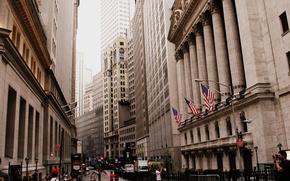 Картинка city, город, улица, здания, небоскребы, new york, street, wall street, 2560x1600, buildings, skyscrapers, НЬЮ-ЙОРК