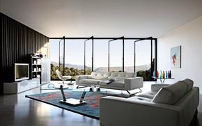 Обои дизайн, ковер, мебель, окна, кровать, интерьер, двери, телевизор, столик, обстановка, открытые, вазы