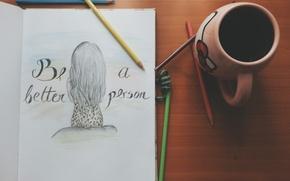 Картинка надпись, рисунок, карандаши, кружка, чашка