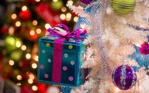 Картинка шарики, украшения, подарок, игрушки, ёлка, коробочка