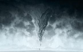 Обои холод, зима, снег, человек, гора, арт, метель
