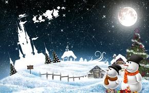 Картинка снеговик, шарики, Новый Год, праздник, снег, зима, украшения, New Year, Christmas, Рождество