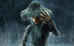 Обои дождь, Zeek Barnaulsky, шляпа, Rainman
