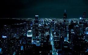 Обои ночь, город, огни, Chicago, мегаполис