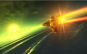 Картинка космос, облака, горы, звезда, планета, полёт, disturbance
