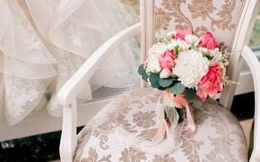 Картинка стул, фата, свадьба, букет невесты