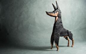 Картинка серый, тень, собака, оригами, dog, доберман, origami, shadow, gray, doberman