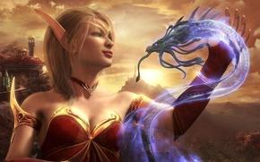 Картинка эльфийка, Blood Elf, рендеринг, дракон, World Of Warcraft
