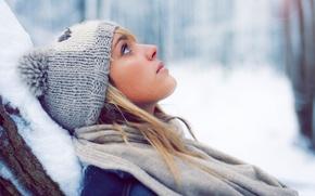 Картинка зима, девушка, снег, шапка, блондинка