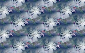 Картинка цветок, лето, абстракция, фон, текстура, колибри, птичка