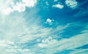 Обои небо, облака, свет, голубой