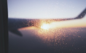 Обои самолет, крыло, окно, иллюминатор