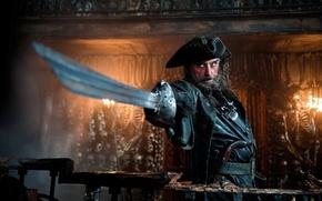 Обои пират, черепа, Пираты карибского моря 4, черная борода, пистоль
