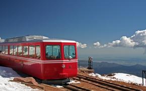 Картинка пейзаж, горы, транспорт, поезд