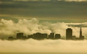 Картинка здания, Туман, чайка