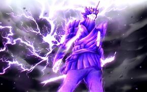 Картинка battlefield, sword, Naruto, fighter, sky, war, lightning, cloud, power, katana, fight, samurai, ninja, uchiha, armour, …