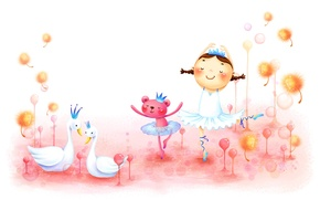 Обои детство, рисунок, танец, девочка, косички, лебеди, зверёк, сказочно