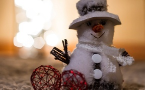 Картинка снеговик, игрушки, праздник