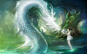 Картинка вода, девушка, деревья, природа, дракон, шар, аниме, арт