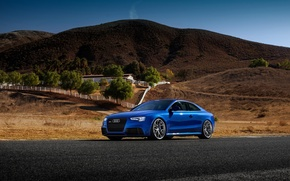 Картинка Car, HRE, Blue, Sport, Tuned, Road, Wheels, Audi, RS5