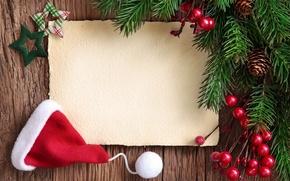 Картинка украшения, ягоды, елка, Новый Год, Рождество, Christmas, wood, New Year, santa hat, fir tree