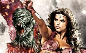 Картинка девушка, рисунок, Адриана Лима, клыки, Adriana Lima, красивая, воительница, кровища, отрубленная голова монстра, татуировка дракон, …