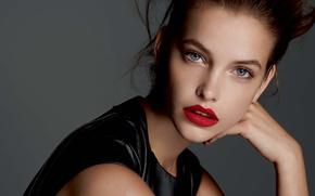 Картинка девушка, лицо, модель, помада, шатенка, красная, голубоглазая, model, Barbara Palvin, Барбара Палвин, Victoria's Secret Angel