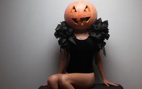Картинка Halloween, Pumpkin, woman, costume