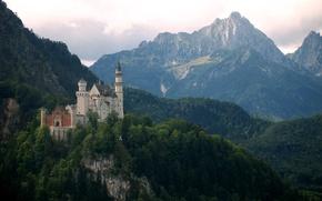 Картинка Нойшванштайн, горы, Германия, Бавария, Neuschwanstein, замок
