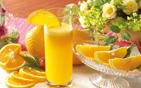 Обои цветы, сок, стакан, апельсины