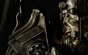 Картинка сталь, шлем, Паладин, силовая броня, Bethesda, наплечник, Fallout 4