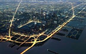 Обои большого, движение, транспорт, порт, огни, ночь, города, Fourside mother2