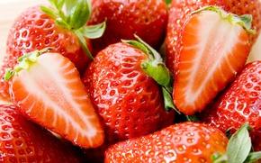 Обои ягоды, макро, клубника