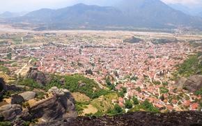 Картинка горы, город, Greece, Метеоры, townб Греция, Meteory