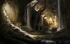 Картинка вода, цветы, заросли, водопад, руины