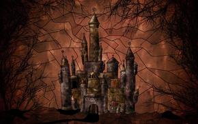 Обои вектор, деревья, замок