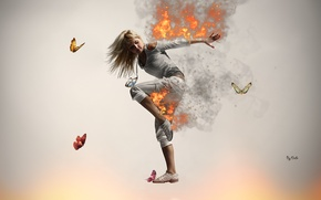 Обои Танец, Огонь, Бабочки, Девушка, Блондинка