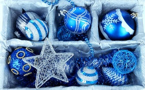 Картинка зима, шарики, коробка, шары, игрушки, Новый Год, Рождество, бусы, декорации, Christmas, шишки, синие, праздники, New …