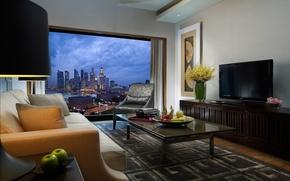 Картинка комната, диван, стиль, интерьер, столик, город, телевизор, Сингапур, кресло, ваза, картина, бежевый, стол, окно, Singapore, ...