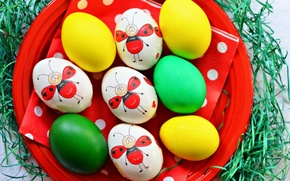 Картинка праздник, рисунок, яйца, тарелка, пасха