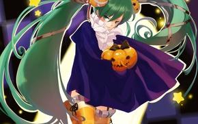 Картинка чулки, Halloween, тыква, плащ, vocaloid, хэллоуин, Hatsune Miku, звездочки, вокалоид, зеленые глаза, бинт, trick or …