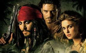 Обои Johnny Depp, Джонни Депп, Кира Найтли, Keira Knightley, Джек Воробей, Пираты Карибского моря, Элизабет Суонн, ...