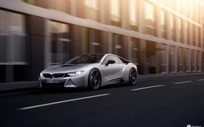 Картинка дорога, город, BMW